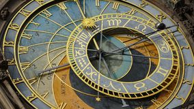 Astronomical Clock Tower detail in Old Town of Prague, Czech Republic. Astronomical clock was created in 1410 by the watchmaker Mi Stock Image