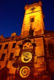 Astronomical Clock Prague night view. Astronomical Clock tower Prague, Europe, night view the world most famous Medieval clock built in 1410 Royalty Free Stock Photo