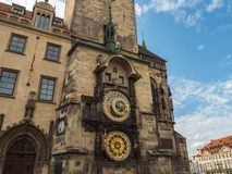 Astronomical clock tower at Prague old town square, Czech Republ Stock Images