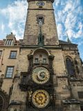 Astronomical clock tower at Prague old town square, Czech Republ Royalty Free Stock Images