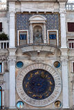 Astronomical clock tower San Marco, Venice, Italy. The Astronomical clock tower San Marco with the zodiac, Venezia, Italia royalty free stock photography