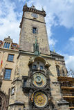 The astronomical clock and the tower of the town hall of Prague, Royalty Free Stock Image