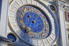 Astronomical clock in Venice with gold zodiac signs, Italy. Astronomical clock in Venice with gold zodiac signs, mystery in Italy royalty free stock images