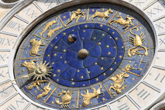 Astronomical clock in Venice, Italy. Famous old medieval astronomical clock in Venice, Italy, on Piazza San Marco stock images