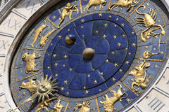 Astronomical clock in Venice, Italy. Famous old medieval astronomical clock in Venice, Italy, on Piazza San Marco royalty free stock image