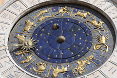 Astronomical clock in Venice, Italy. Famous old medieval astronomical clock in Venice, Italy, on Piazza San Marco stock photos
