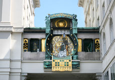 Astronomical clock Vienna. Anker clock on street in old Vienna, Austria stock photo