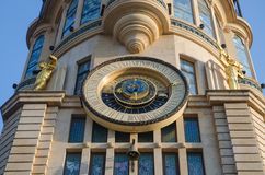 Astronomical clock which shows time of the day and placement of sun and moo Stock Photo