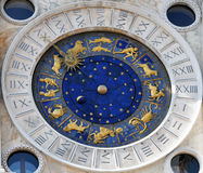 Astronomical Clock with Zodiac Signs. Old astronomical clock with zodiac signs and moon phase royalty free stock photography