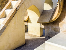 Astronomical instrument at Jantar Mantar in Jaipur. The Jantar Mantar in Jaipur (Rajasthan, India) is a collection of architectural astronomical instruments stock photo