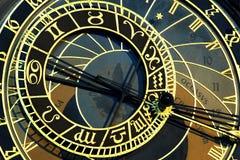 astronomical klocka gammala prague Fotografering för Bildbyråer