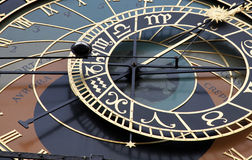 astronomical klockaczecdetalj prague Arkivfoton