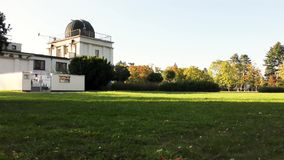 Autumn in the park, astronomical observatory. Astronomical observatory, autumn in the park stock video