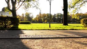 Autumn in the park, astronomical observatory. Astronomical observatory, autumn in the park stock footage