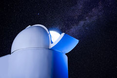 Astronomical observatory dome in stars night Stock Photography