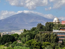 Astronomical observatory. The dome of the astronomical observatory at the University of Catania. Mount Etna in the background Royalty Free Stock Photo