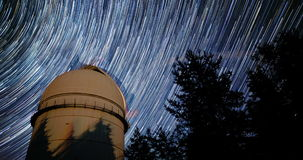 Astronomical Observatory. 4k timelapse in comet mode. Tilt. Rozhen astronomical observatory under the night sky stars. Blue sky with hundreds of stars of the stock video footage