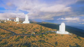 Astronomical observatory on Mount Teide Tenerife Spain. Aerial Shot of astronomical observatory on Mount Teide Tenerife Spain stock video
