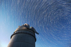 Astronomical Observatory night sky stars. Timelapse in comet mod Stock Photos