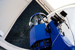 Astronomical observatory telescope indoor night Stock Photos