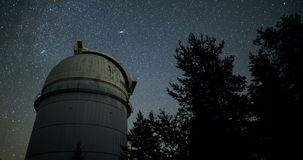 Astronomical Observatory under the night sky stars. Vignette. 4k. Rozhen astronomical observatory under the night sky stars. Blue sky with hundreds of stars of stock video