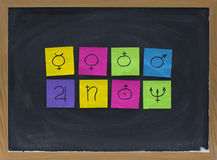 Astronomical symbols for eight planets. (Mercury, Venus, Earth, Mars, Jupiter, Saturn, Uranus, Neptune) represented with crumpled sticky notes on blackboard Stock Images