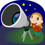 Astronomical telescope illustration Stock Images