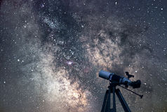 Astronomical Telescope Starry night. Milky Way Galaxy. royalty free stock photo
