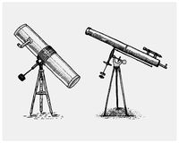 Astronomical telescope, vintage, engraved hand drawn in sketch or wood cut style, old looking retro Royalty Free Stock Photography