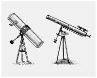 Astronomiczny teleskop, rocznik, grawerująca ręka rysująca w nakreśleniu lub drewna cięcia styl, stary patrzeć retro ilustracji