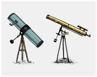 Astronomiczny teleskop, rocznik, grawerująca ręka rysująca w nakreśleniu lub drewna cięcia styl, stary patrzeć retro royalty ilustracja
