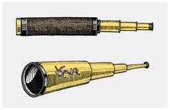 Astronomiczny teleskop, rocznik, grawerująca ręka rysująca w nakreśleniu lub drewna cięcia styl, stary patrzeć retro ilustracja wektor