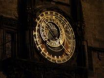 Astronomiczny zegar przy nocą, Praga Obrazy Stock