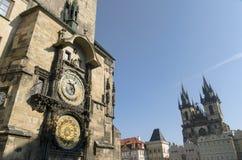 Astronomiczny zegar w Praga Obrazy Royalty Free