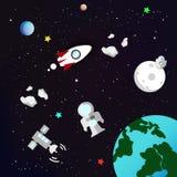 Astronomie met planeetmelkweg en ruimte vectorinzamelingsconcept stock illustratie