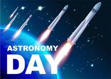 Astronomiedag Rocket Space Tekst voor groetkaart Stock Fotografie