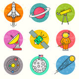 Astronomii ikony Wektorowy set ilustracji