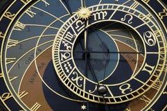 Astronomische Borduhr auf altem Stadtkontrollturm in Prag Lizenzfreies Stockbild
