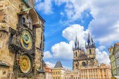 Astronomische klok in Praag, Tsjechische republiek Stock Fotografie