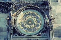 Astronomische Nahaufnahme der Uhr (Orloj) in Prag, Tschechische Republik, E Lizenzfreie Stockbilder