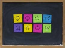 Astronomische Symbole für acht Planeten Stockbilder