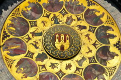 Astronomische Uhr, Prag: Nahaufnahme Lizenzfreies Stockfoto