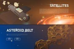 astronomischer Galaxieraumhintergrund Planeten im Sonnensystem für die Fahne Modernes Design des Universums für Karten Stockbild