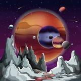 Astronomisches Planetenpanorama mit Gelände und Himmel stock abbildung