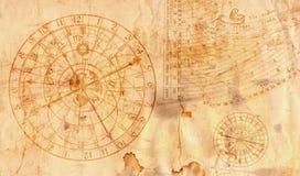 Astronomisk klocka i grungestil som är användbar som en bakgrund - 16:9 Royaltyfri Bild