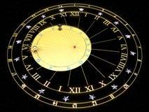 Astronomisk klocka i guld med zodiaktecken royaltyfri illustrationer
