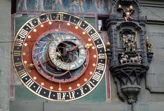 Astronomisk klocka på Bernstadfyrkanten, Schweiz Fotografering för Bildbyråer