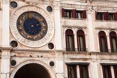 Astronomisk klocka, Venedig, Italien Arkivfoton