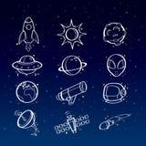 Astronomisymboler vektor illustrationer