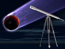 Astronomy. An illustrated astronomy background with a moving planet and a telescope Royalty Free Stock Photo